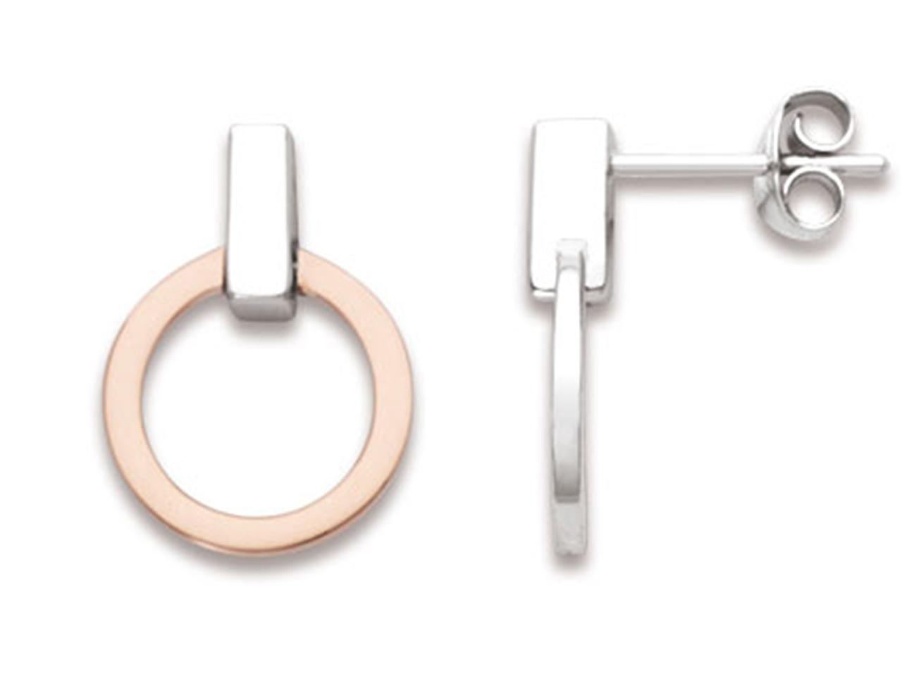 Boucles d'oreilles Cercles barre verticales 12 mm, Argent 925 rhodié plaqué rose