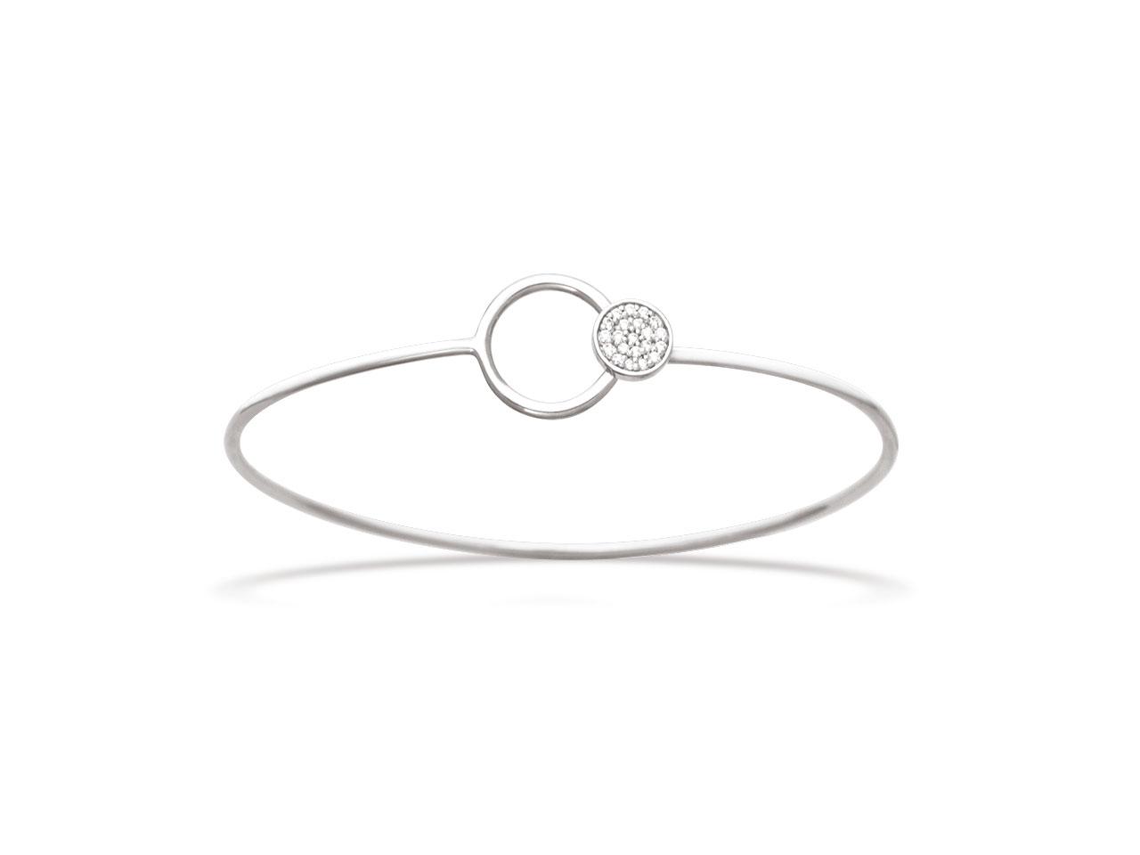 Bracelet Jonc motif Cercle dans Boule avec Oxydes de zirconium Argent 925 rhodié