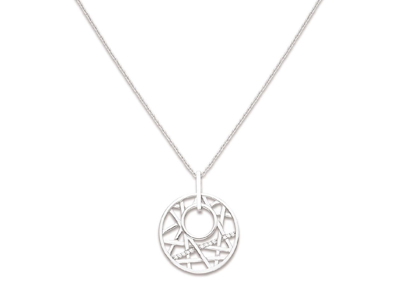 Collier chaîne pendentif Cercle géométrique avec Oxydes de zirconium, Argent 925 rhodié