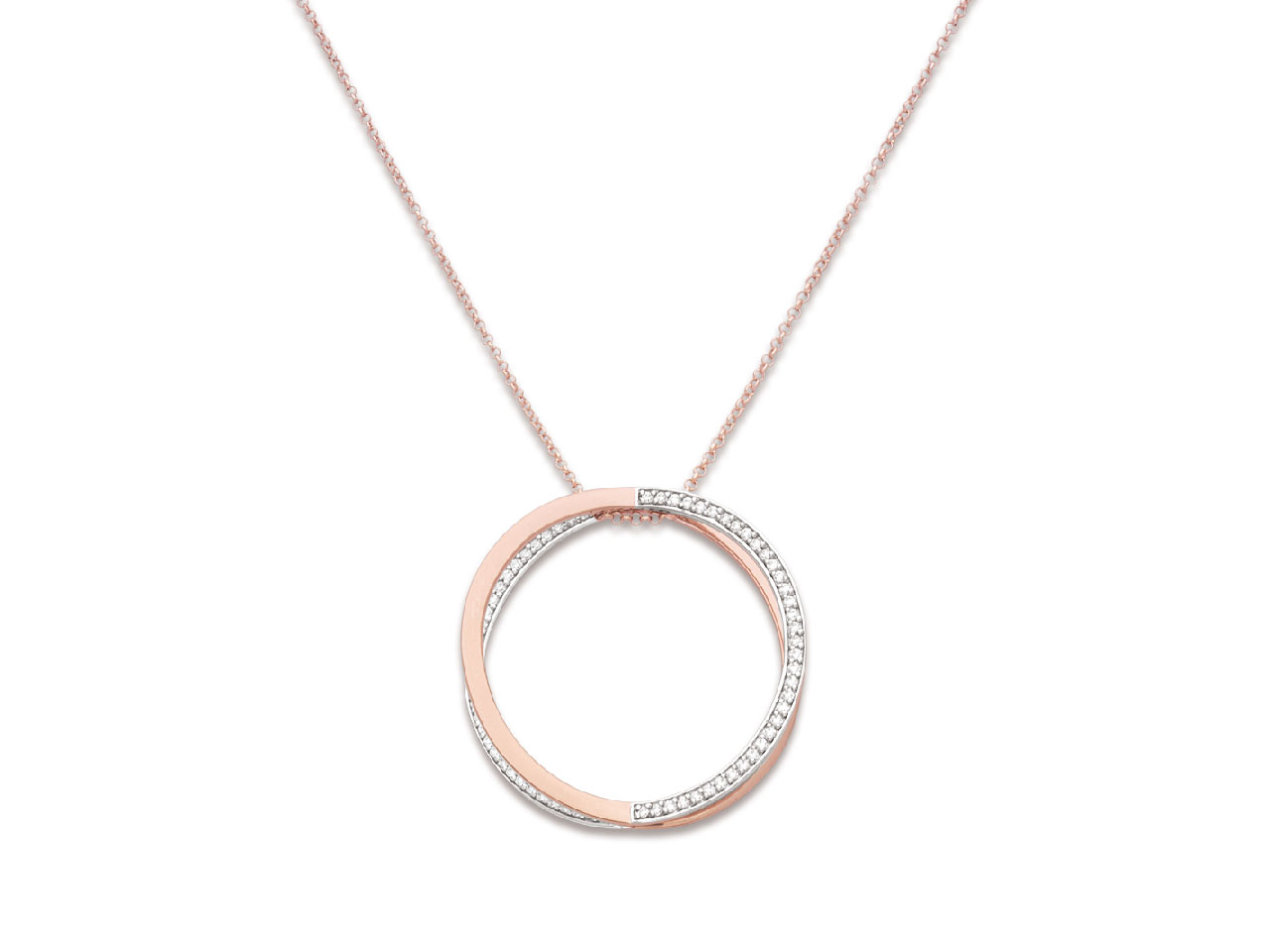 Collier motif double Cercle avec Oxydes de zirconium sur chaîne, Argent 925 rhodié plaqué rose