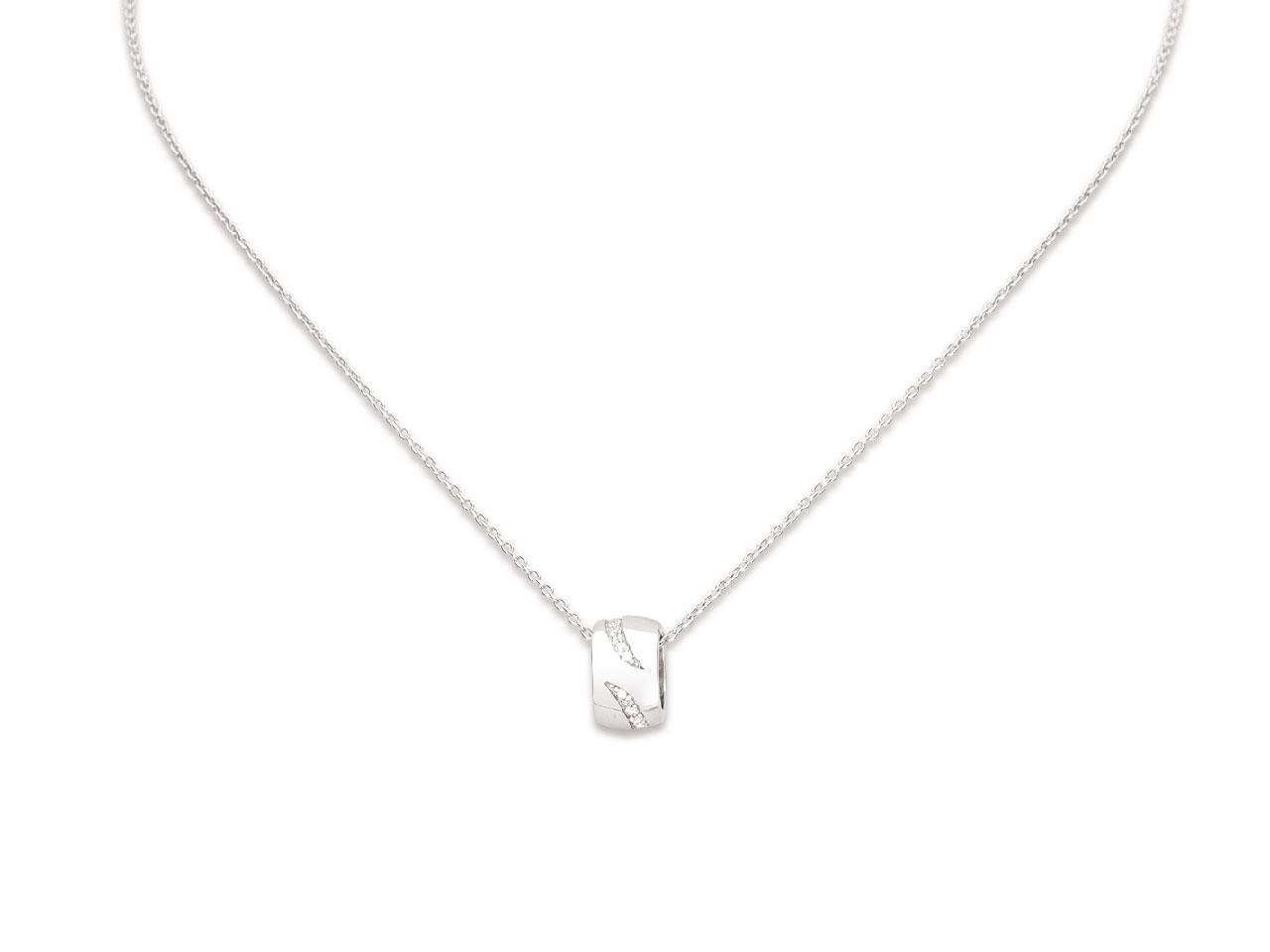 Collier pendentif Rondelle motifs Virgules avec Oxydes de zirconium, Argent 925 rhodié
