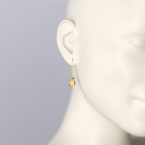 Boucles d'Oreilles Pendants en Or Jaune 750/1000ème