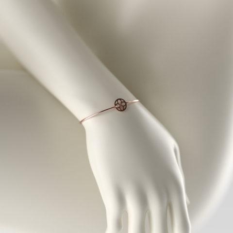 Bracelet Or Rouge 750/1000ème avec brillant